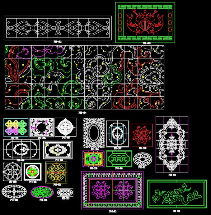 639 Types of Paving Design CAD Blocks