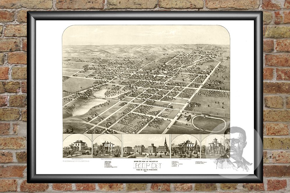 Ripon  WI Historical Map   1867   Ted s Vintage Art Ripon  WI Historical Map   1867