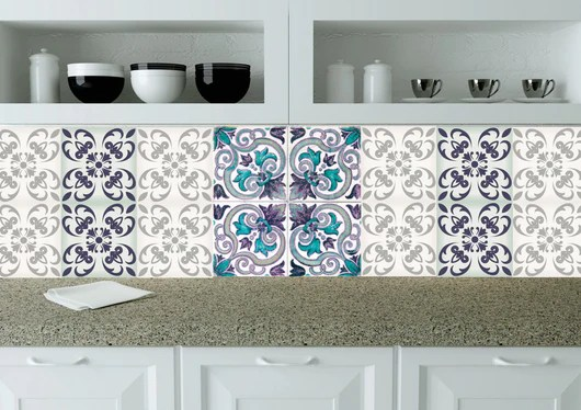 set of 24 tile stickers wall decals home decor tiles decals kitchen decals bathroom decals spanish tile n28