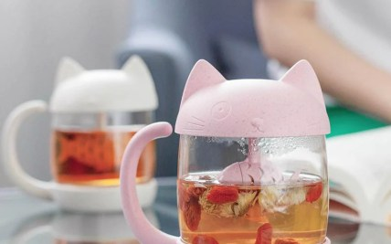 e4f63a9986c PinkGrey Kawaii Kitty Fish Mug YV2268 Youvimi