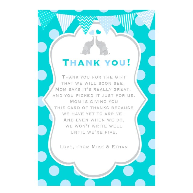 Teal Twins Elephant Thank You Note Card Baby Shower Printable