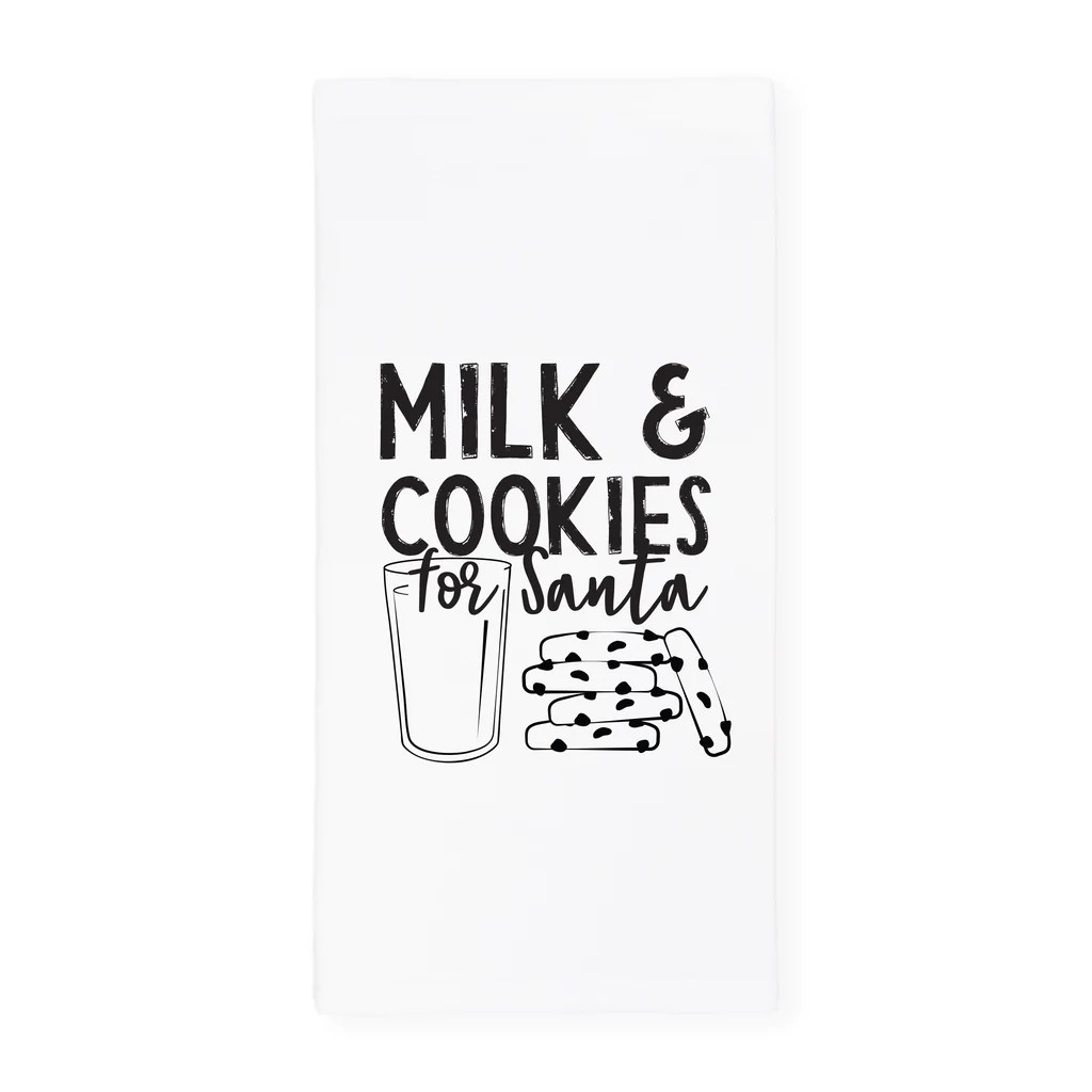 Milk And Cookies For Santa Christmas Kitchen Tea Towel And