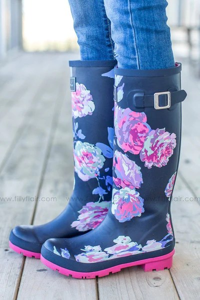 Joules Floral Rain Boots In Navy Filly Flair