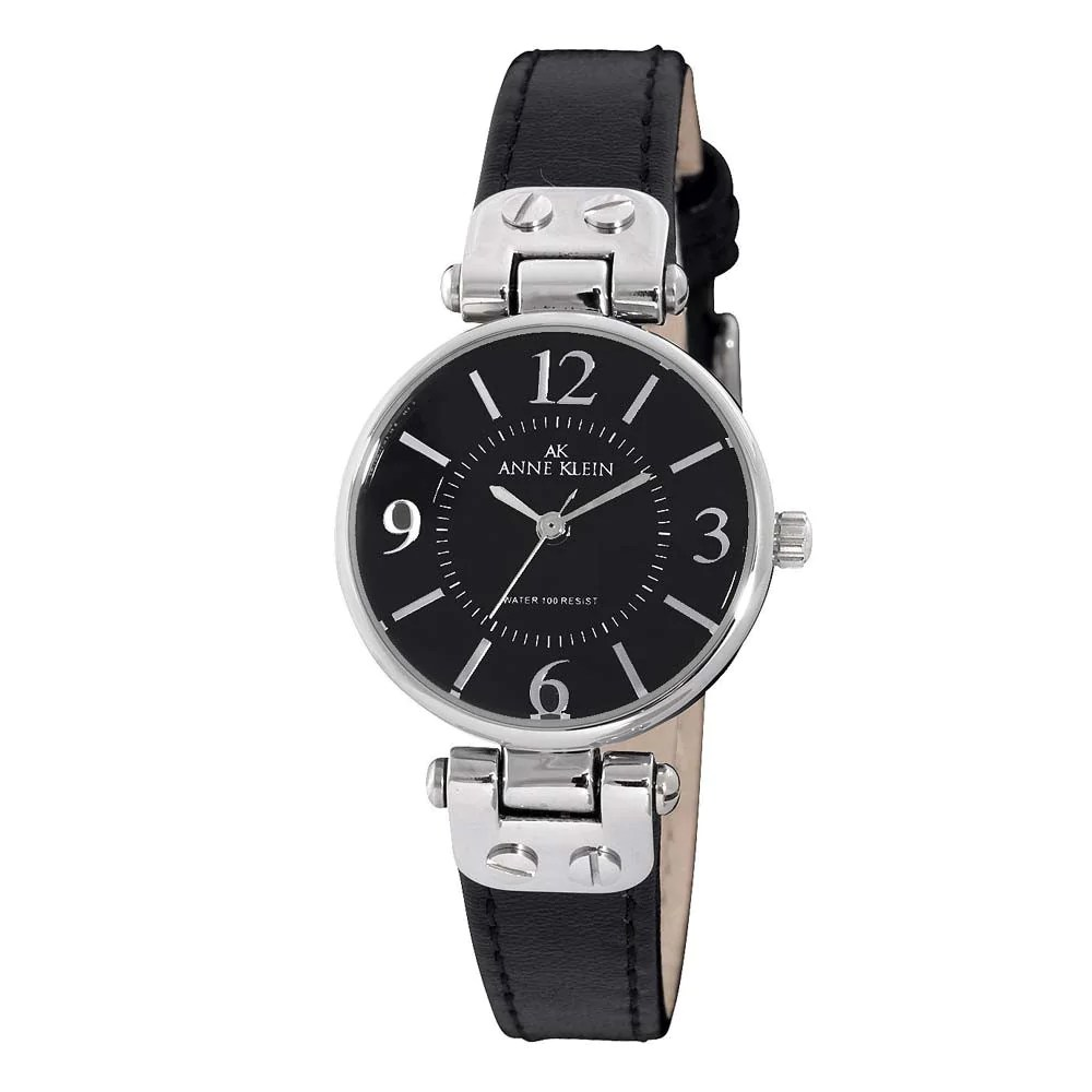 Anne Klein 10-9443BKBK Women's Black Leather Strap Black Dial Quartz Watch