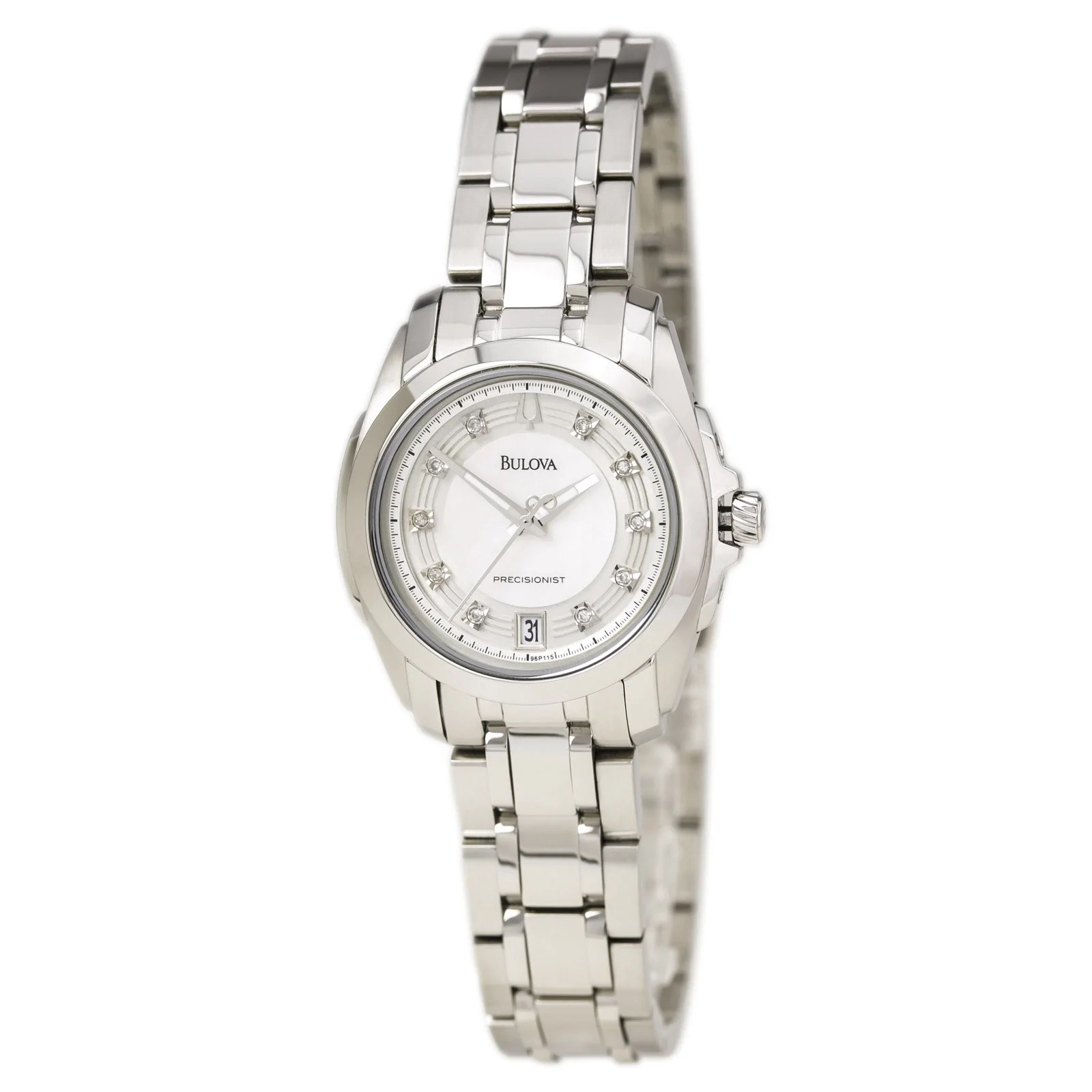 Bulova 96P115 Womens Crystal Accents MOP Dial Steel Bracelet Watch