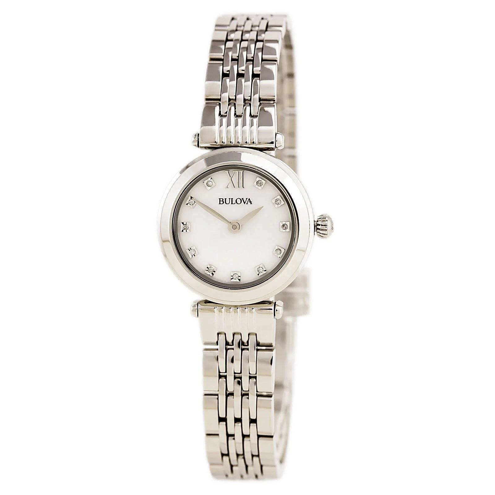Bulova 96P167 Lady's Diamond White MOP Dial Steel Bracelet Watch