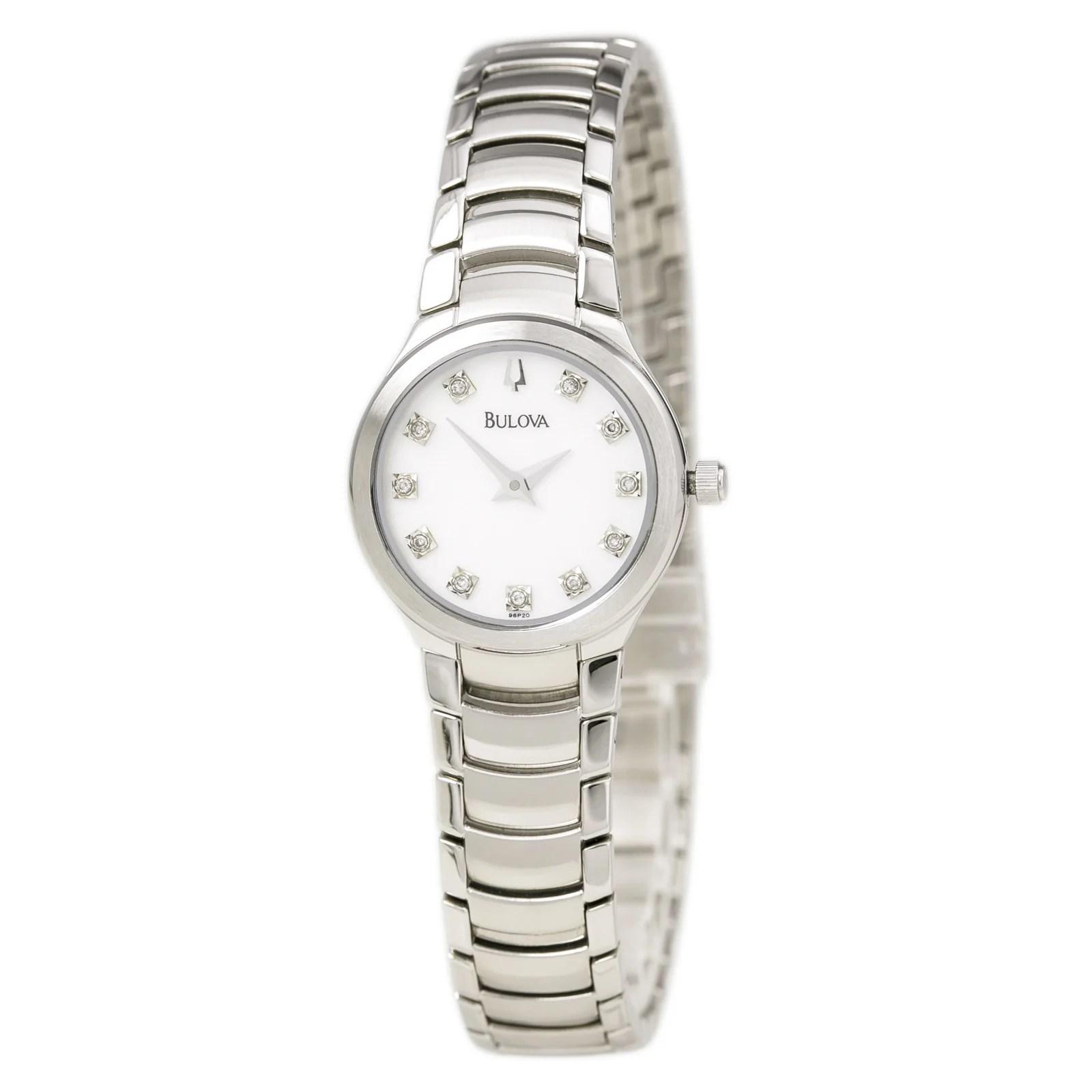 Bulova 96P20 Women's Dress MOP Dial Steel Bracelet Diamond Watch
