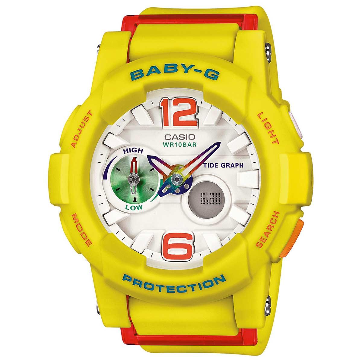 Casio BGA180-9B Lady's Ana-Digi White Dial Yellow Band Alarm Watch