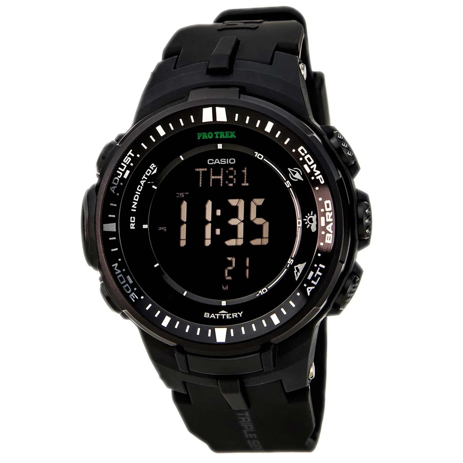 Casio PRW3000-1A Men's Protrek Triple Sensor Black Dial Black Resin Strap Watch
