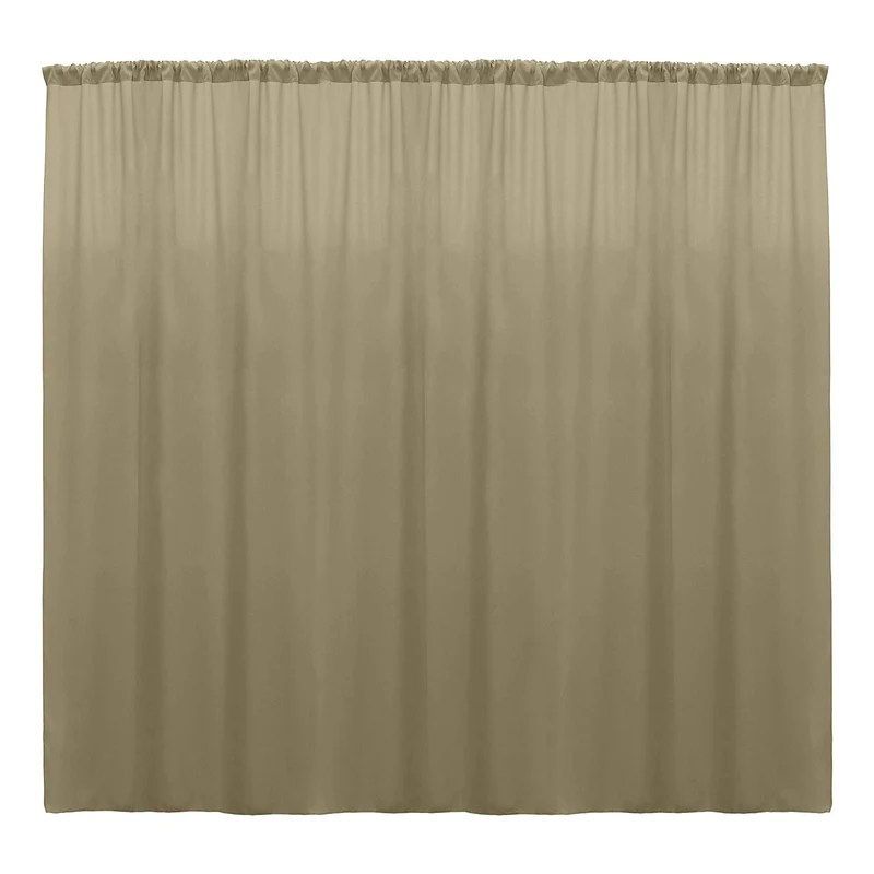 10 x 10 ft taupe curtain polyester backdrop drapes panels with rod pocket