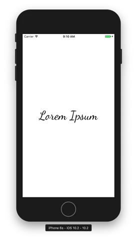 Using the Dancing Script font asset in our Xamarin.Forms app on iOS.