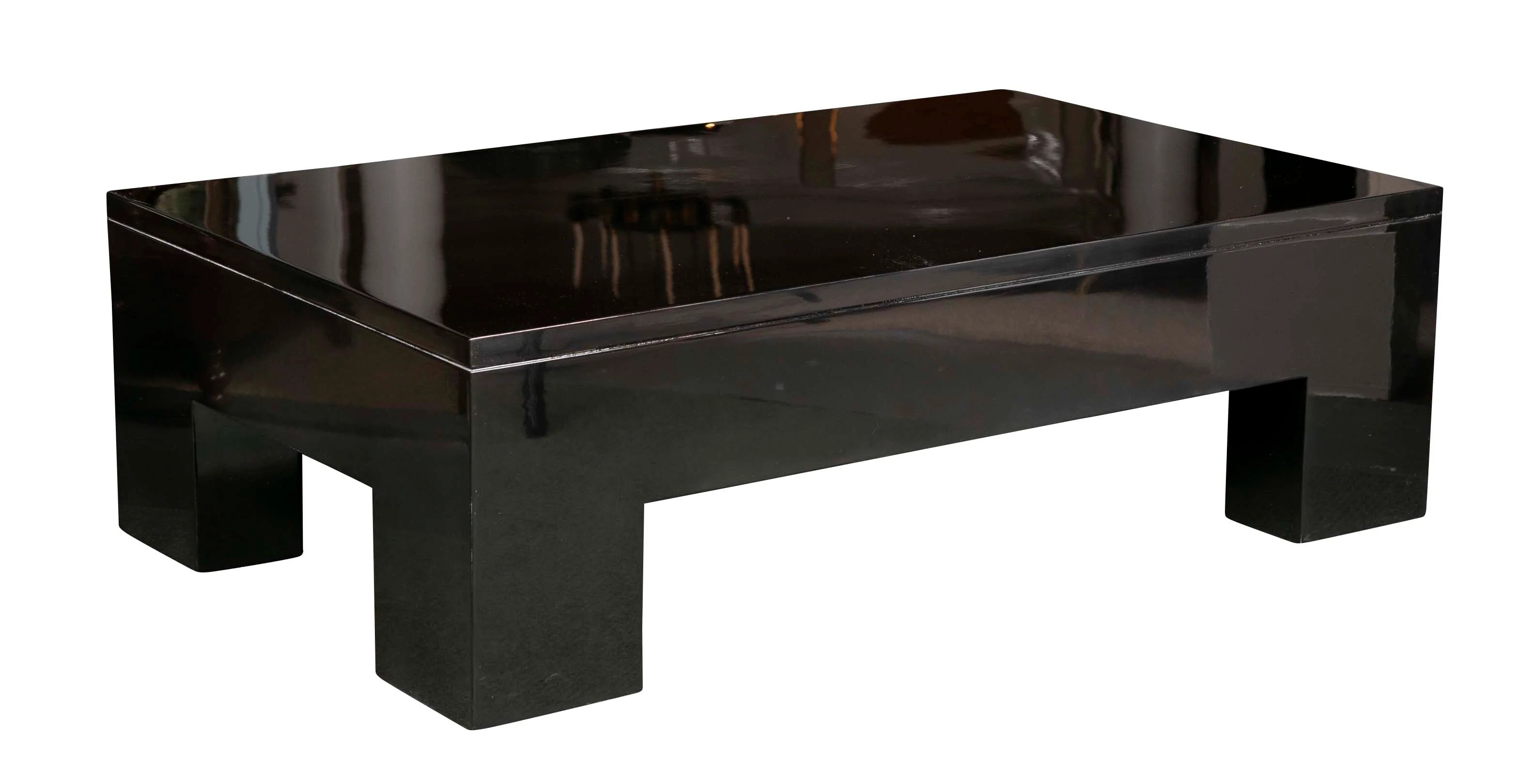 contemporary black lacquered coffee table
