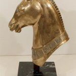 Brass Horse Head Sculpture On Marble Base Avery Dash Collections
