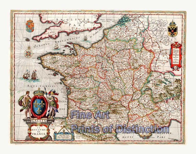 1649 Map of the Kingdom of France by J  Blaeu   Brandywine General Store 1649 Map of the Kingdom of France by J  Blaeu