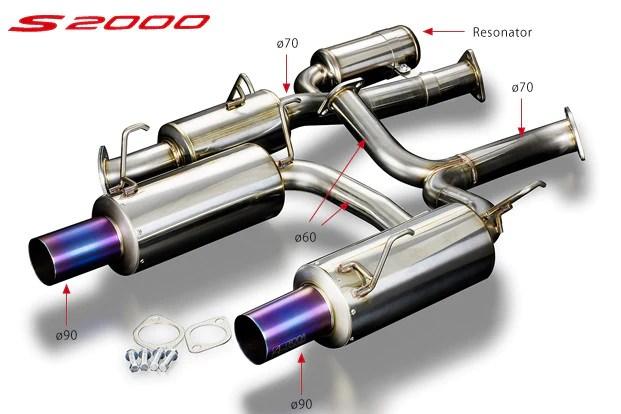 honda s2000 o70mm high power exhaust system ver 2