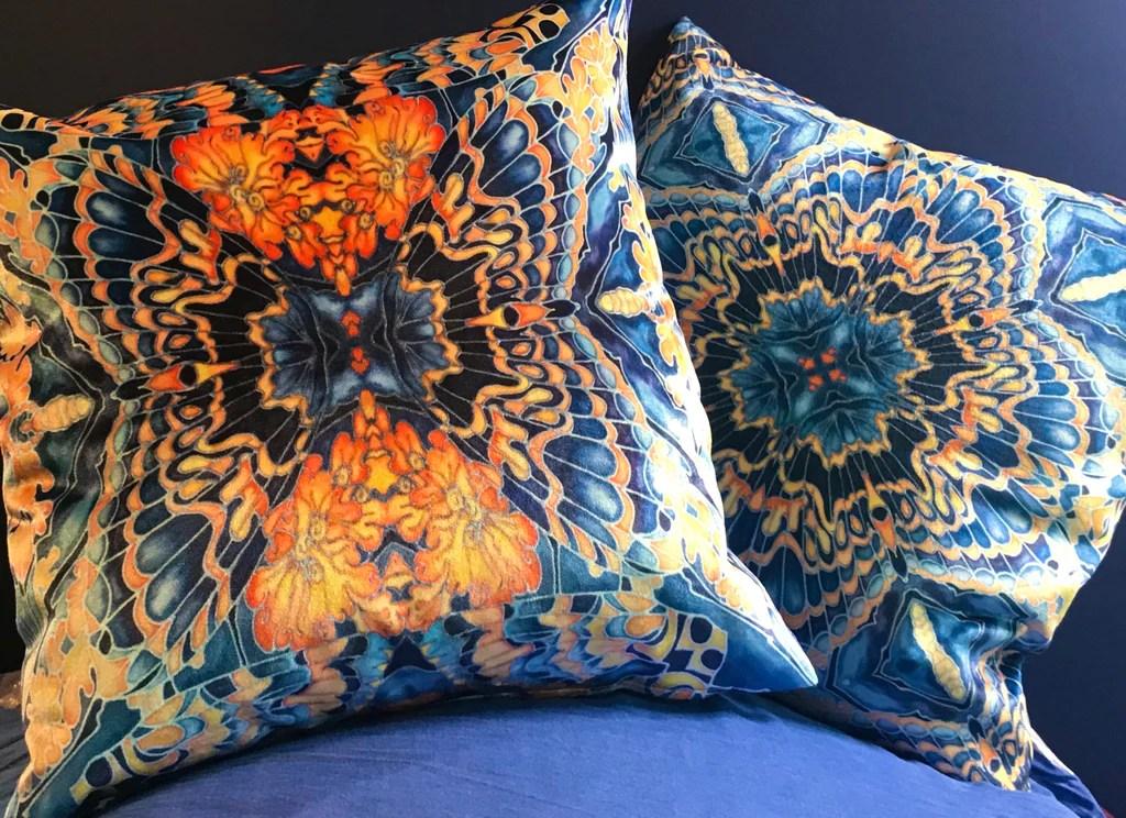contemporary grey blue orange velvet cushions dramatic moth design luxury velvet cushions