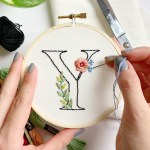 Beginner Embroidery Floral Letter Workshop 3 27 Friday Night Byob Yoseka Stationery