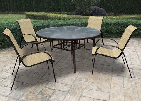 Capri 5 Piece Dining Set Chicago Wicker Outdoor Furniture Clover Home Leisure