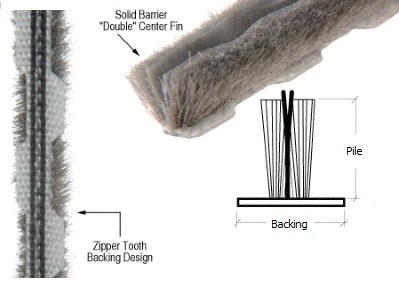 zipper backed replacement weather stripping 270 1 4