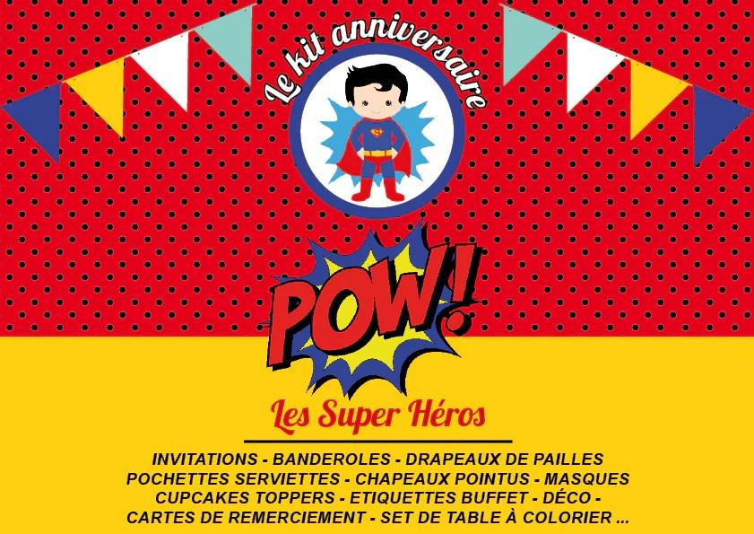kit anniversaire super heros personnalise