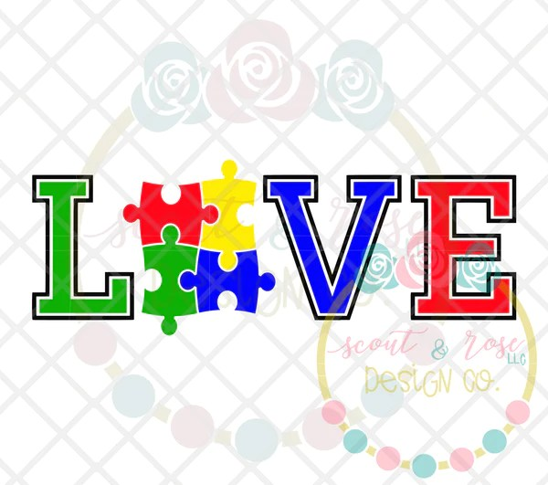 Download Love Autism SVG DXF PNG - Scout and Rose Design Co