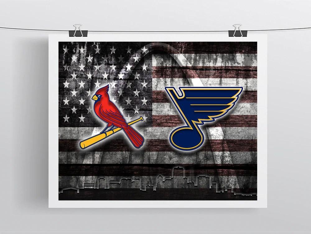 st louis sports teams flag poster st louis cardinals st louis blues poster flag
