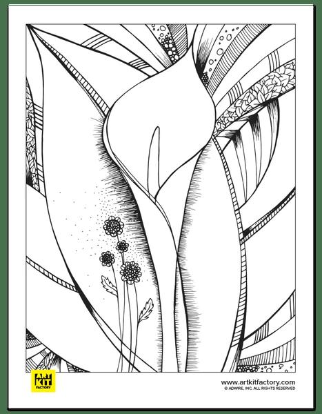 Flower Portrait Doodle Art Coloring Page