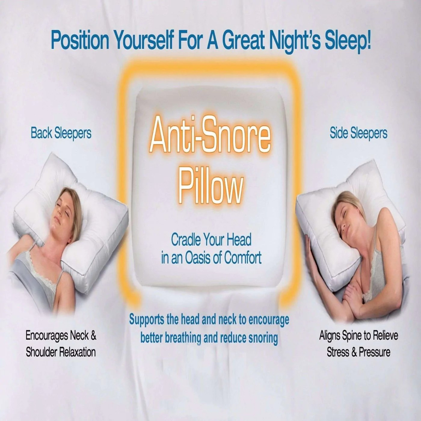 anti snoring non allergenic snooze control orthopaedic support pillow