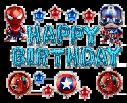 Happy Birthday Spiderman Captain America Marvel Superhero Balloon Se Superaprons