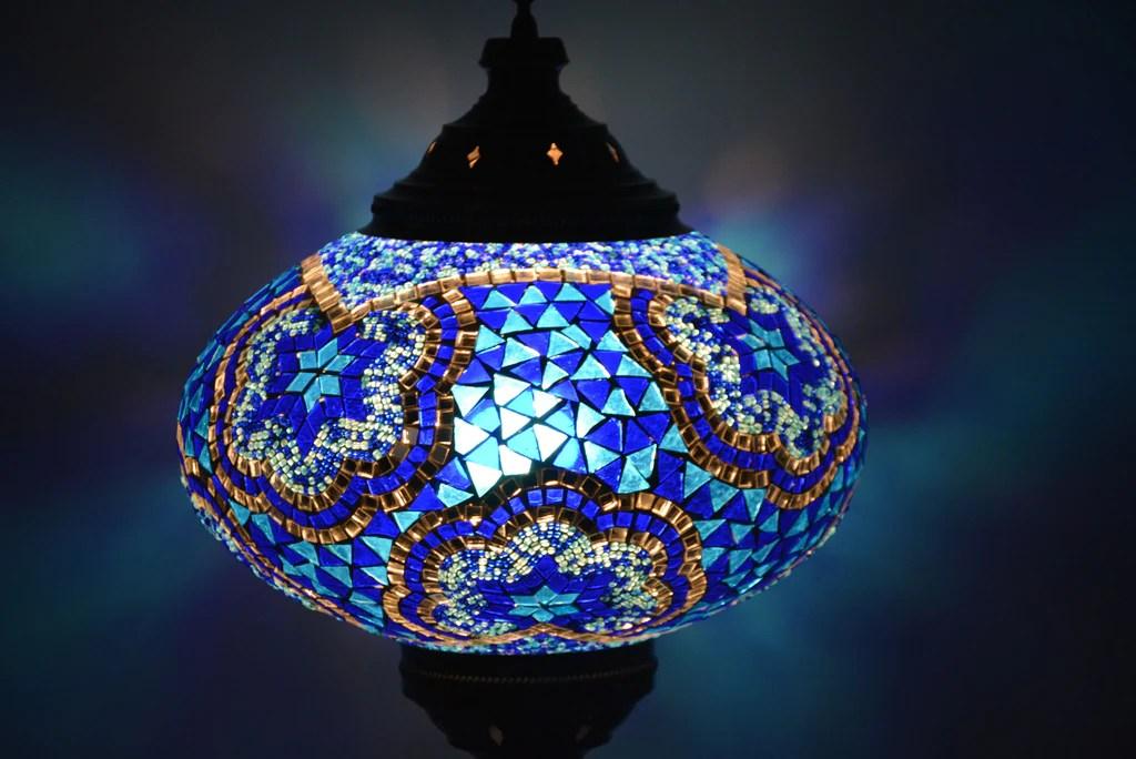 Large Blue Turkish Mosaic Glass Floor Lamp Lamptastico