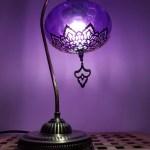Turkish Moroccan Style Purple Blown Glass Table Lamp No 3 Lamptastico