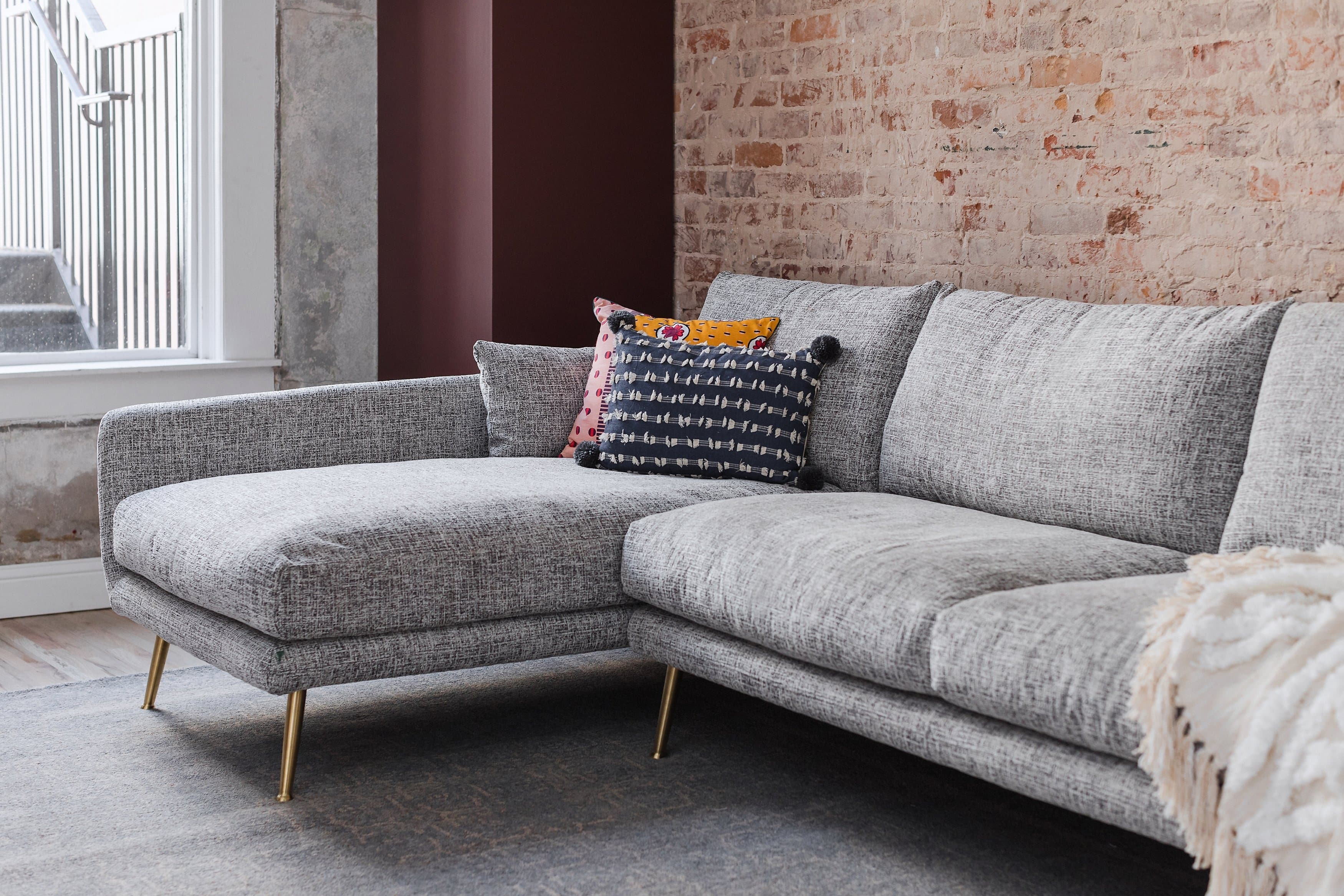 Harlow Mid Century Modern Sectional Sofa Down Feathers Gold Legs Edloe Finch Furniture Co