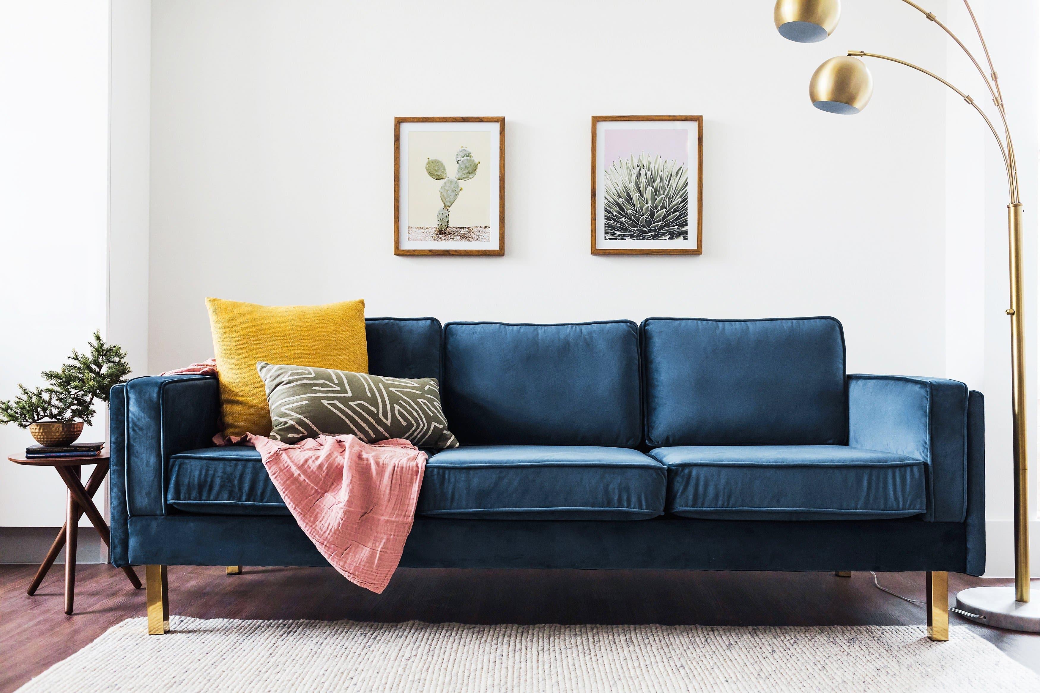Lexington Blue Velvet Sofa Mid Century Modern Sofa Gold Legs Edloe Finch Furniture Co