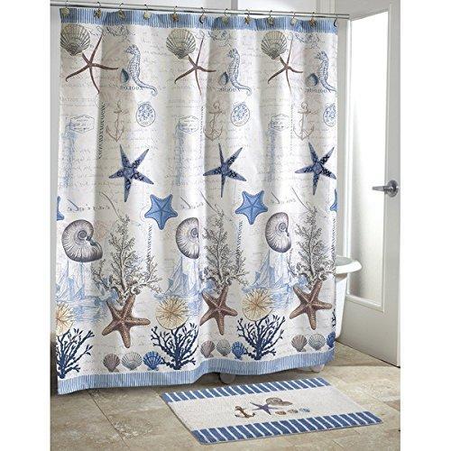 kids blue grey sea life beach themed shower curtain ocean