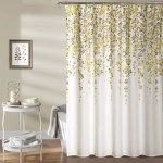 Yellow Brown White Graphical Nature Themed Shower Curtain Polyester De Diamond Home