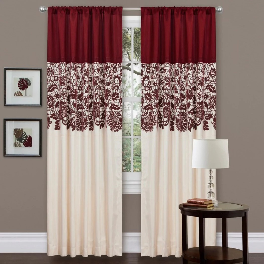 84 inch red color faux silk garden inspired curtain single