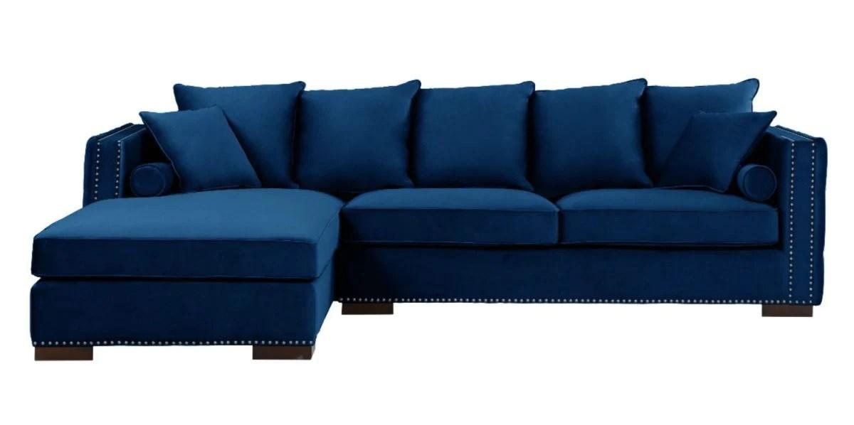 royal blue velvet moscow corner sofa
