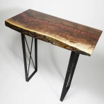 Buy A Live Edge Walnut Epoxy Hallway Table For 1 000 Red Resin