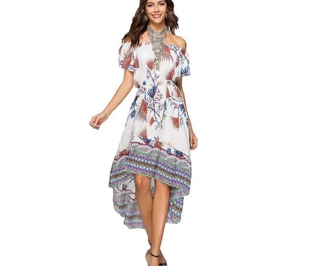 82c4260a4e 2018 Summer Elegant Maxi Long Floral Print Off Shoulder Women Dress  Asymmetrical Bohemian Boho Chic Beach