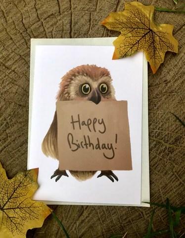 Happy Birthday Owl Blank Greeting Card Dufflecat