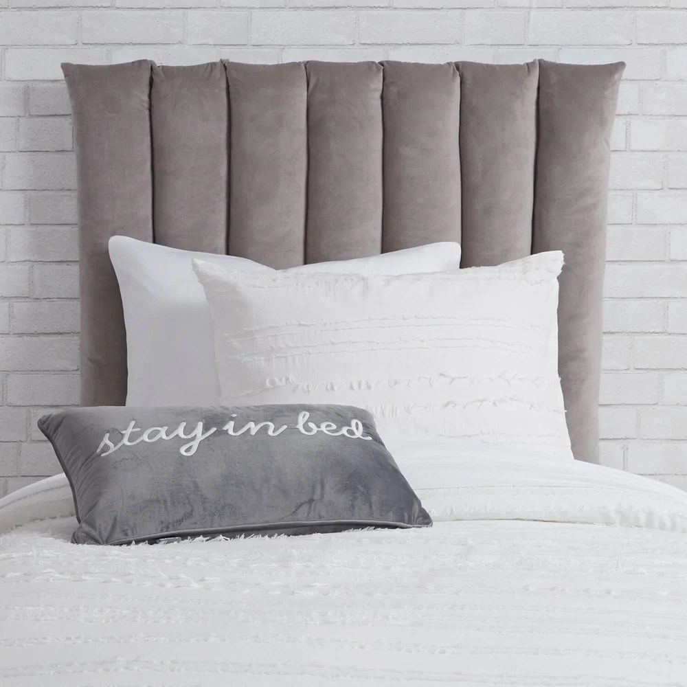 twin twin xl velvet channeled headboard cushion light grey