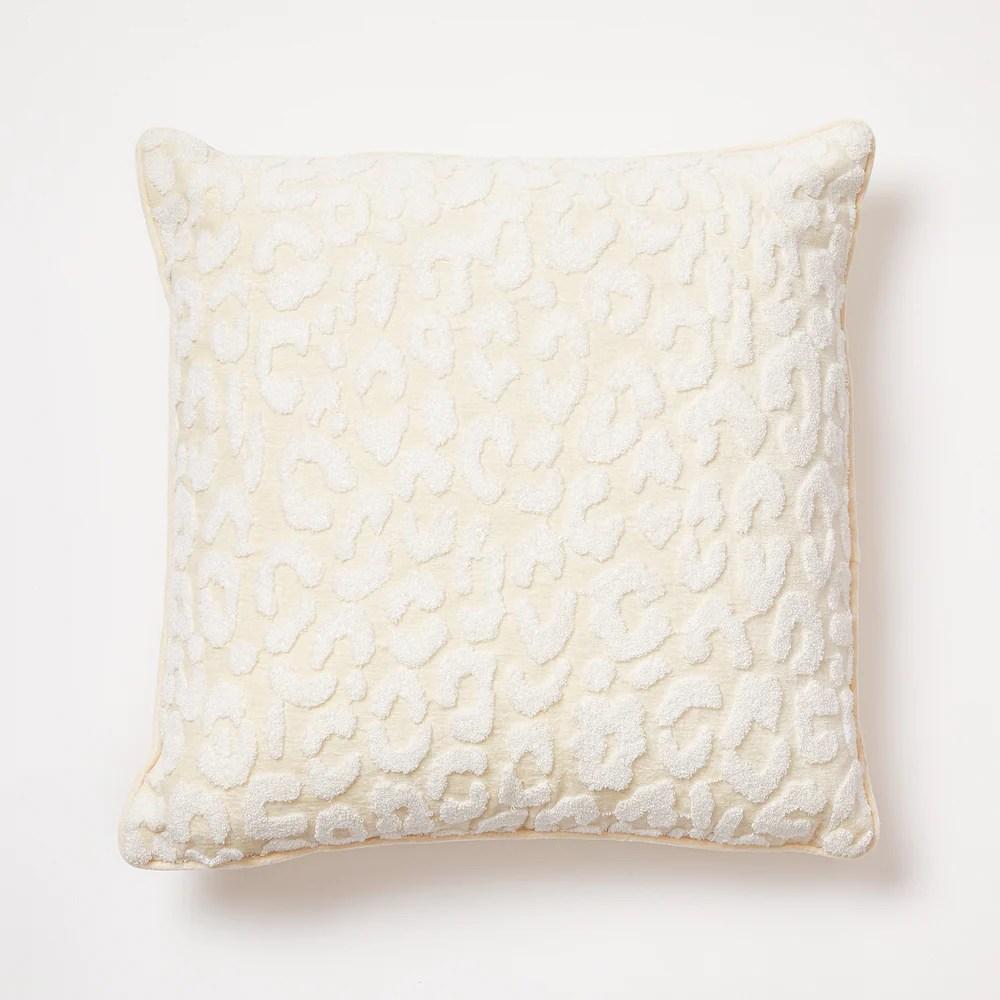 leopard terry throw pillow