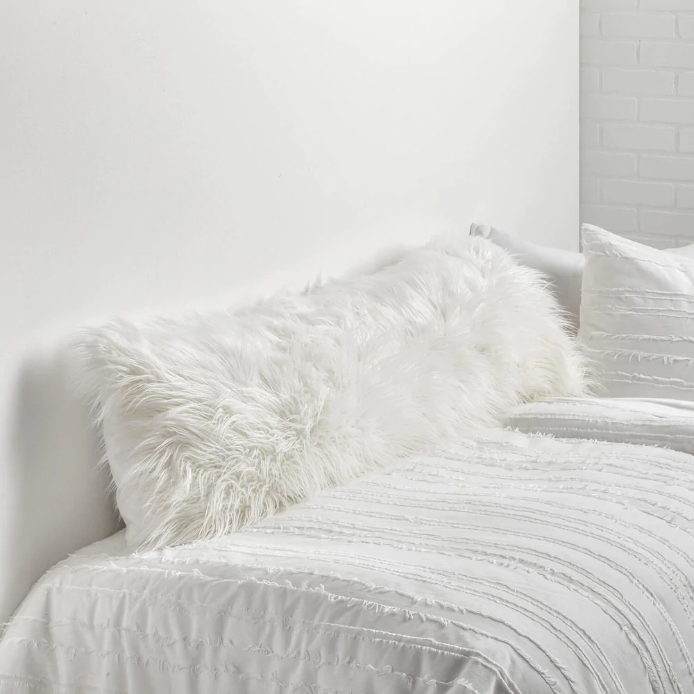 faux mongolian body pillow cover white