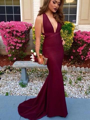 Trumpet/Mermaid V-Neck Burgundy Satin Prom Dress