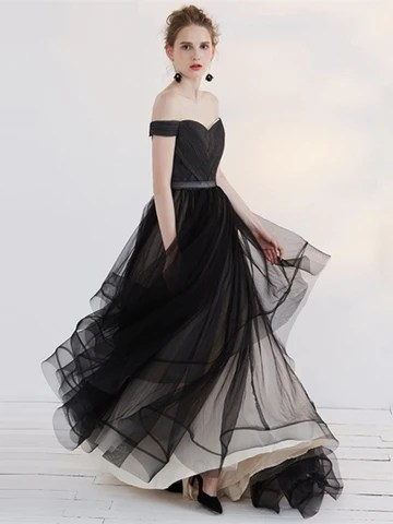Black A-Line Off-the-Shoulder Pleats Sashes Court Train Evening Dress