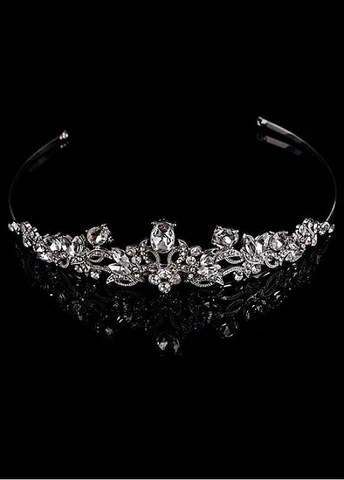 Charming Silver-plated Alloy Tiara With Rhinestones