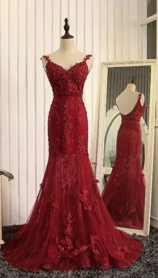 Mermaid Burgundy Lace Appliqued Prom Dresses