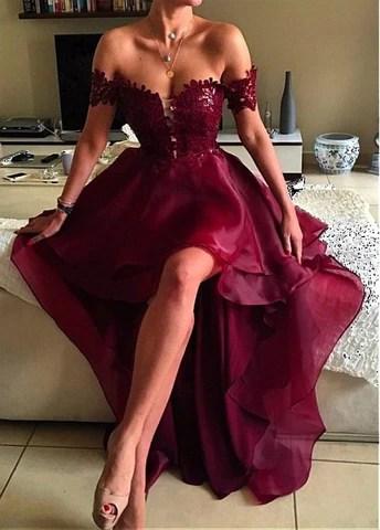 Organza Off-the-shoulder Neckline Hi-lo A-line Prom Dresses With Lace Appliques