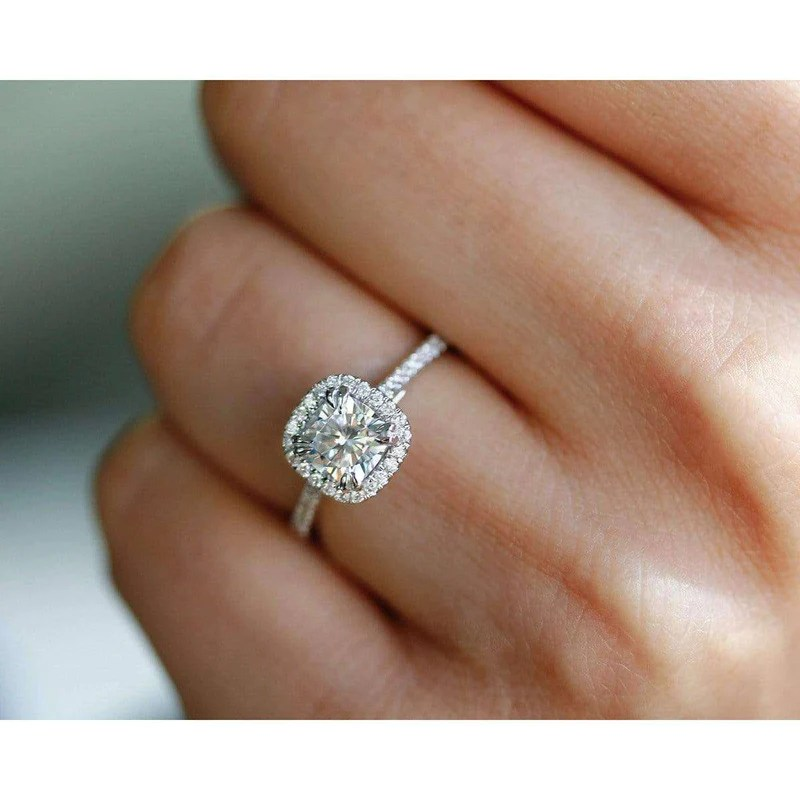 cushion cut moissanite engagement ring with diamond 1 1 3 ctw 14k gold