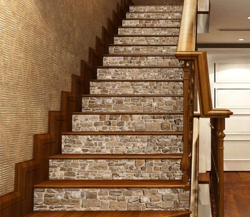 Stair Risers Murals Decals U S Delivery Aj Wallpaper | Wood Stairs With Tile Risers | Grey | Diy | Design | Mosaic | Stone
